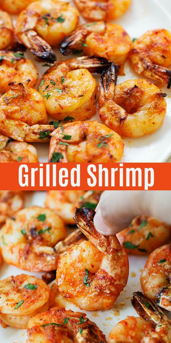 Easy grilled shrimp with marinade and seasoning of paprika, honey, butter and lemon. The best grilled shrimp recipe that takes only 15 minutes to make using an indoor or outdoor grill.
