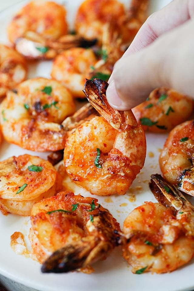 Easy grilled shrimp, ready to serve.