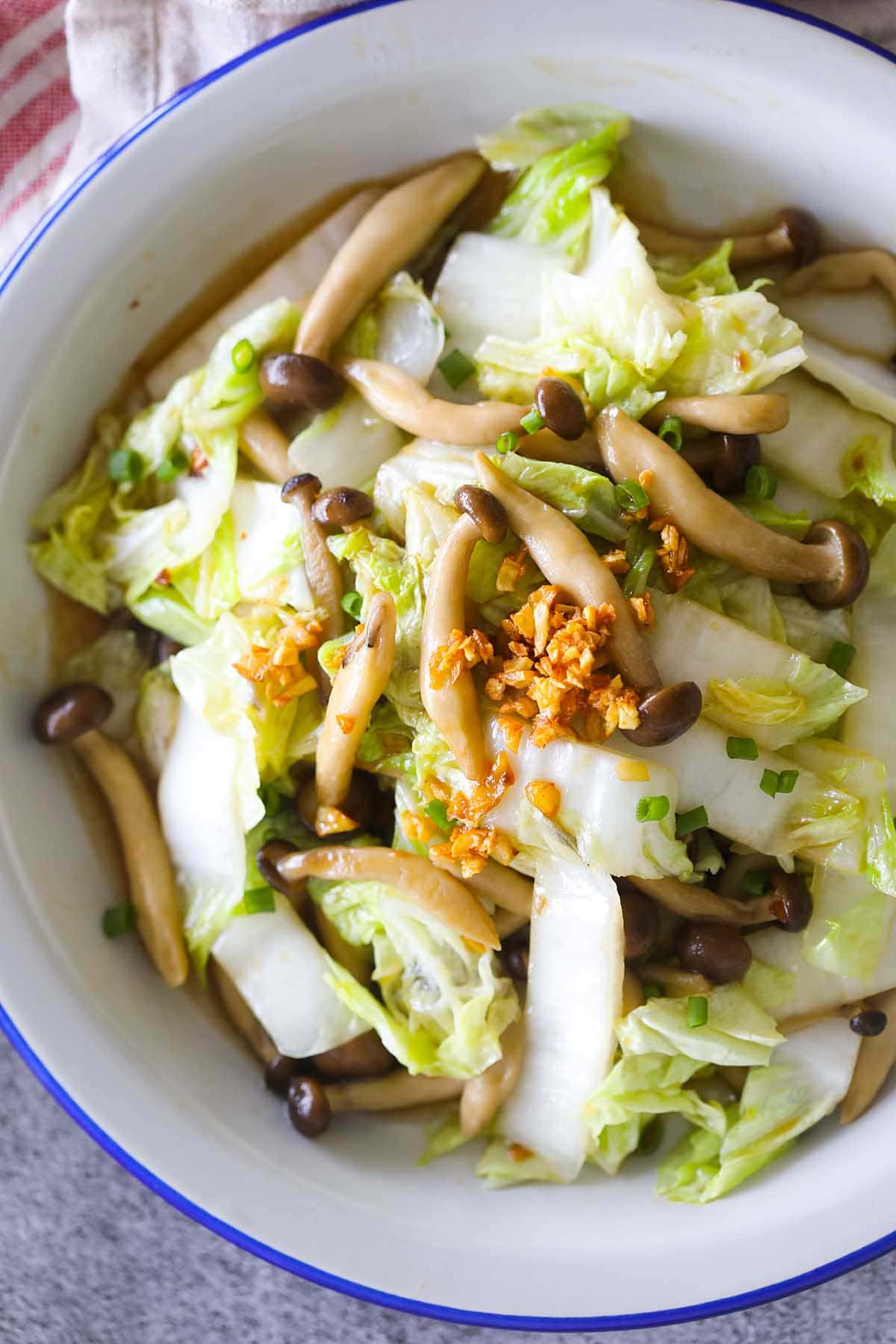 Homemade Chinese cabbage stir fry with mushroom and oyster sauce.