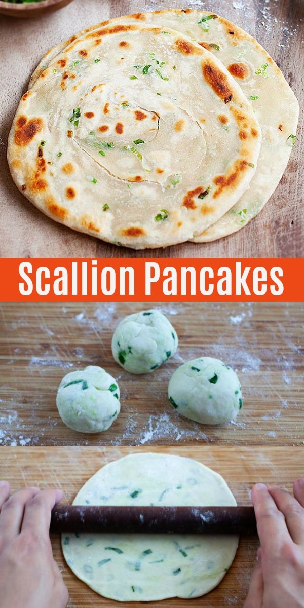 Healthy and the best scallion pancakes made of flour, green onion scallions and salt. This easy Chinese scallion pancake recipe is authentic and fail-proof!
