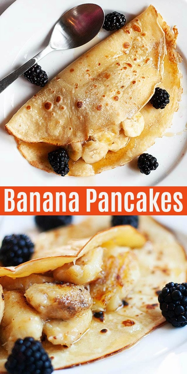 Easy healthy banana pancakes filled with sweet bananas. These banana egg pancake are full of nutrition and the recipe is great for breakfast every morning!
