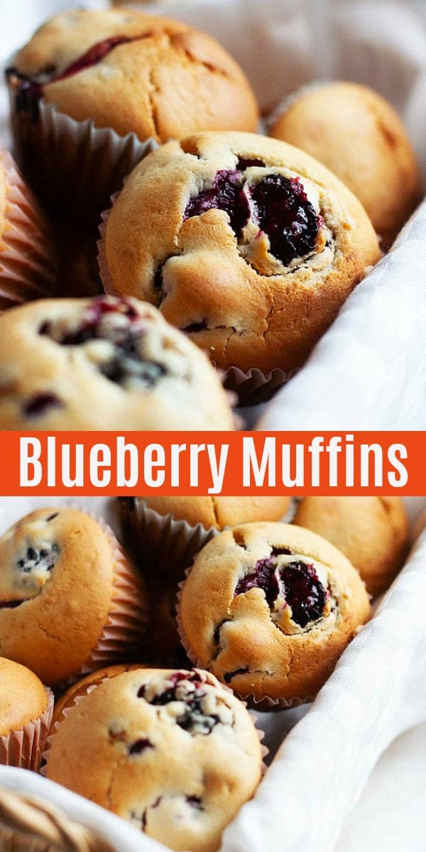 Healthy and best blueberry muffins packed full of juicy blueberries. This easy homemade blueberry muffin recipe is perfect for breakfast.