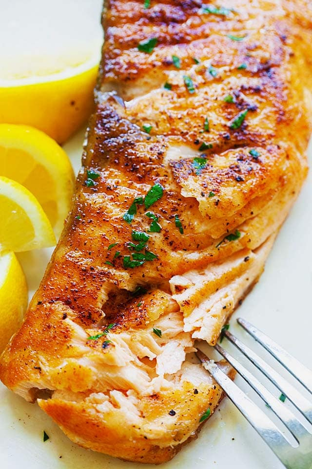 Moist and juicy salmon fillet after cooking in a pan.