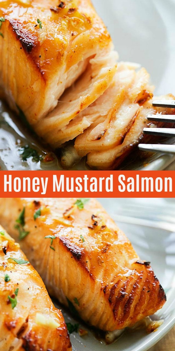Easy and healthy baked salmon with lemon, garlic and honey mustard is one of the best salmon recipes baked in oven. Tender salmon fillet with 5 mins prep.