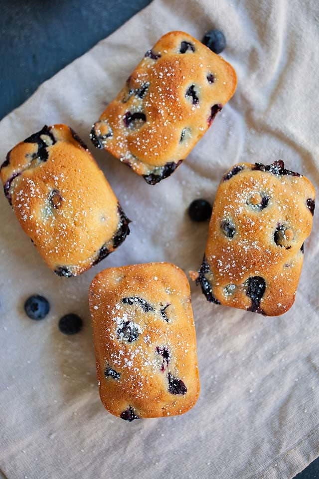 The best blueberry cake in a serving basket.