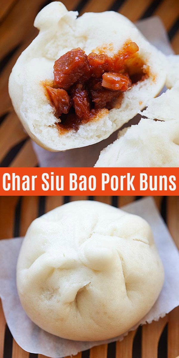 Char Siu Bao are steamed pork buns. Soft, fluffy steamed buns filled with Chinese BBQ pork or char siu. Easy, authentic and the best char siu bao recipe!