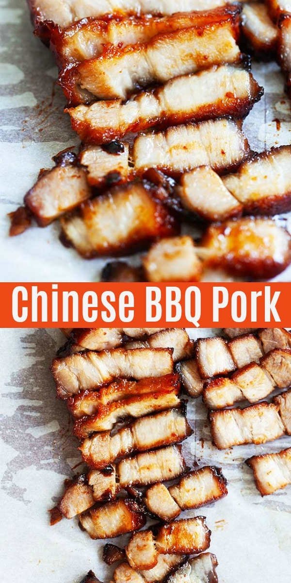 Authentic and homemade Chinese BBQ pork marinated with sticky char siu sauce and roasted in oven. This recipe is easy and tastes just like the best Chinese restaurants.