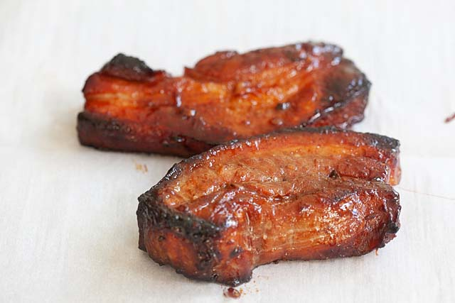 Chinese bbq pork roasted in oven.