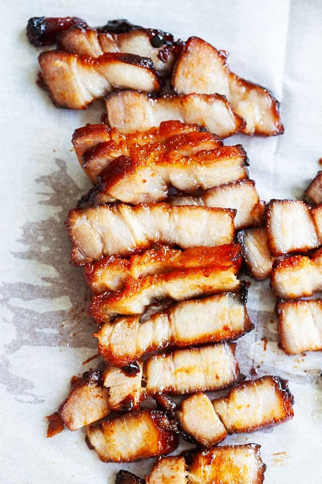 Chinese barbecued pork cut into pieces.