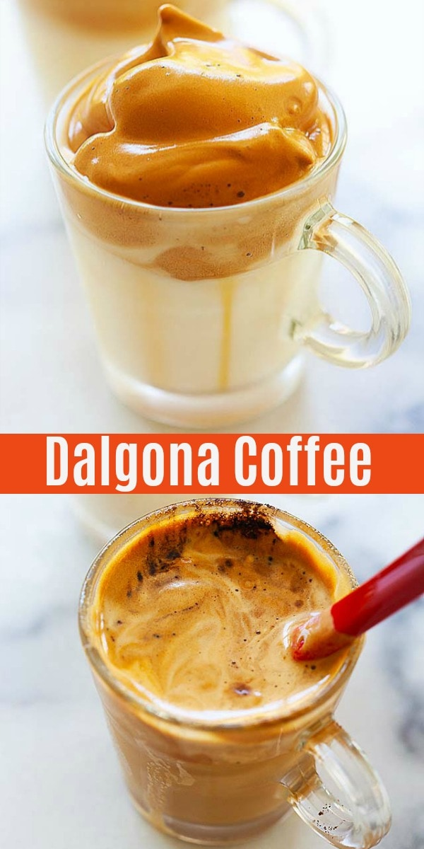 Fluffy, frothy DIY Dalgona coffee with 4 ingredients: milk, instant coffee, sugar and water. Easy Dalgona coffee recipe that rivals the best cafe in town!