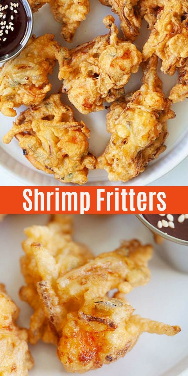 Crispy shrimp fritters loaded with shrimp and bean sprouts. This homemade shrimp fritters recipe is so easy to make and taste so good with chili sauce.