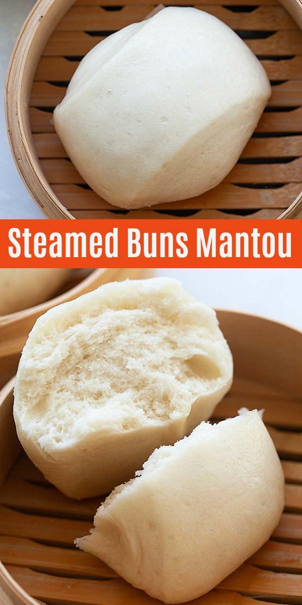 Cotton soft, puffy and fluffy steamed buns or mantou. This Chinese steamed buns recipe is easy, quick and 100% fail-proof, with only 20 minutes active time!