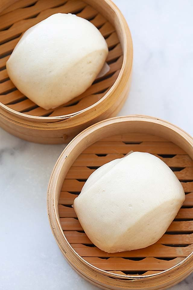 Chinese steamed buns, soft and fluffy.