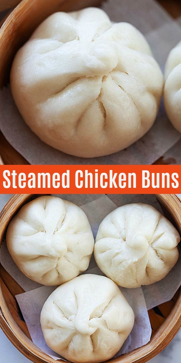 Chinese steamed chicken buns are popular at dim sum restaurants. Learn how to make soft and fluffy chicken steamed buns baozi with this easy and delicious recipe!