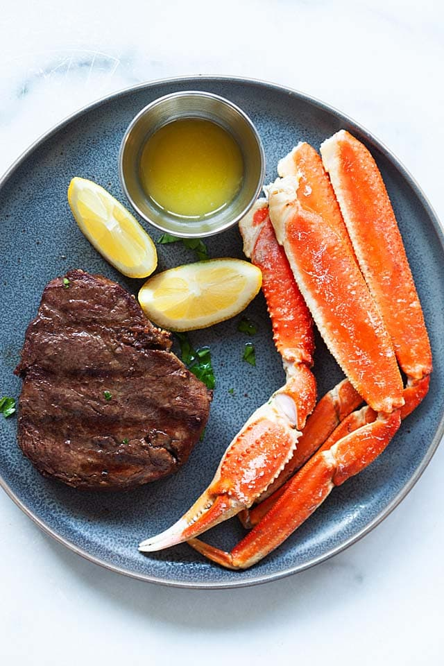 Surf and turf, with steak and crab legs.
