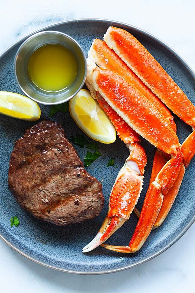 One of the best surf and turf recipes is to pair steak with crab legs.