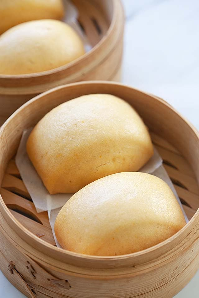Soft and fluffy mantou buns with yeast.