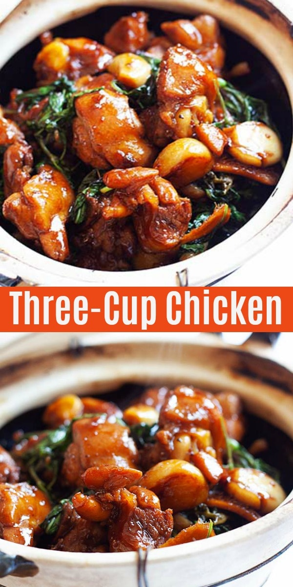 Easy and authentic three cup chicken (san bei ji) recipe that anyone can make at home. This three cup chicken recipe tastes homey and takes 20 mins to make.