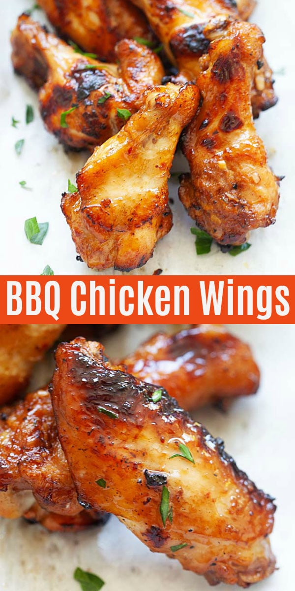 Honey bbq chicken wings marinated with homemade dry rub, garlic, honey and soy sauce. These wings have crispy skin, juicy and flavorful and perfect for outdoor grilling!