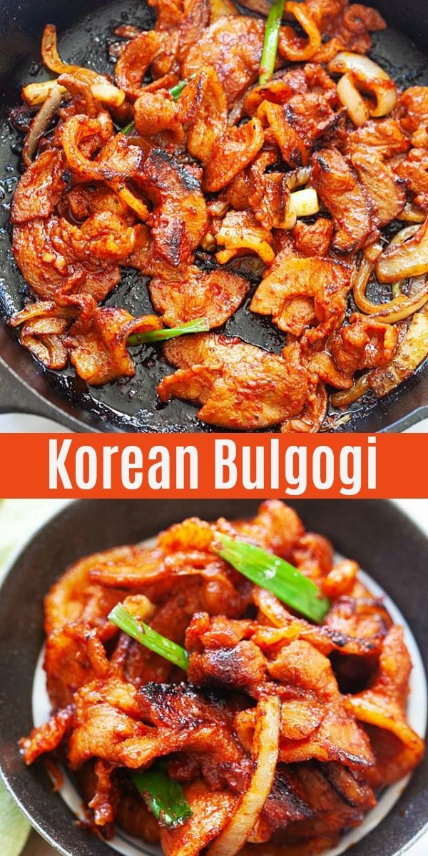 Authentic and easy bulgogi recipe with sliced pork belly and Korean red chili paste. Bulgogi is great with steamed rice as a bulgogi bowl or wrapped with lettuce or Perilla leaves.
