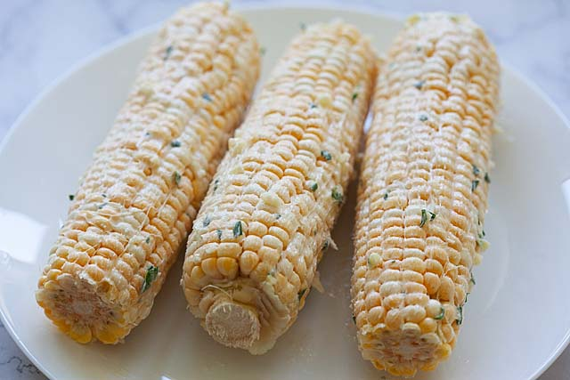Fresh corn grill with garlic butter.