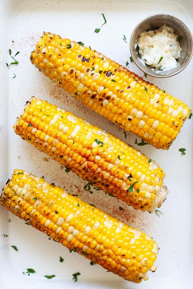 Fresh corn grill with marinade.