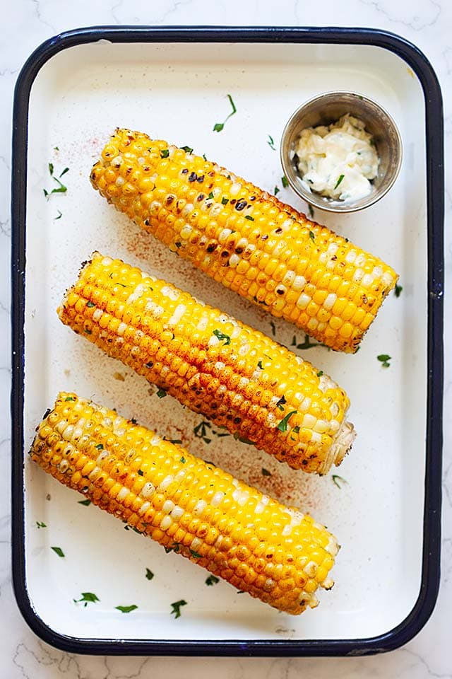 Easy grilled corn on the grill.