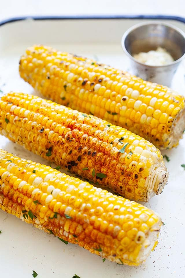 Grilled corn recipe with garlic butter.