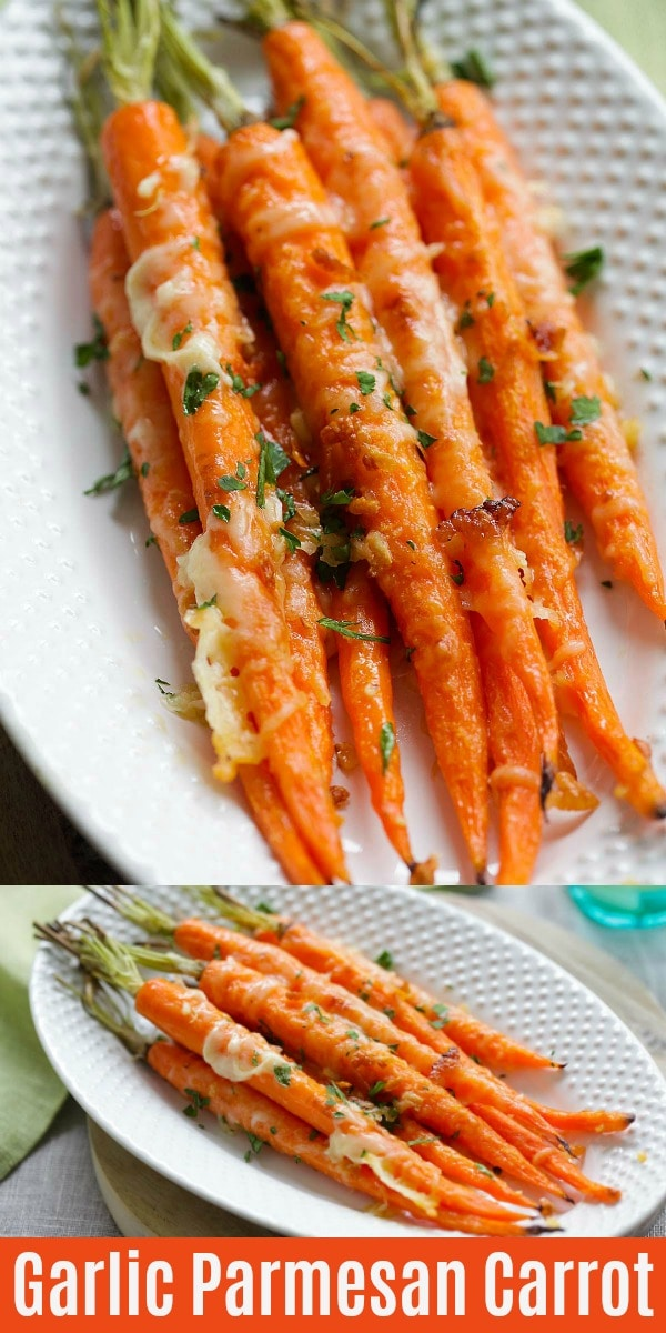 One of the best carrot recipes is oven roasted carrots with garlic butter and Parmesan cheese.  This savory roasted carrots recipe is easy, healthy and great for kids!