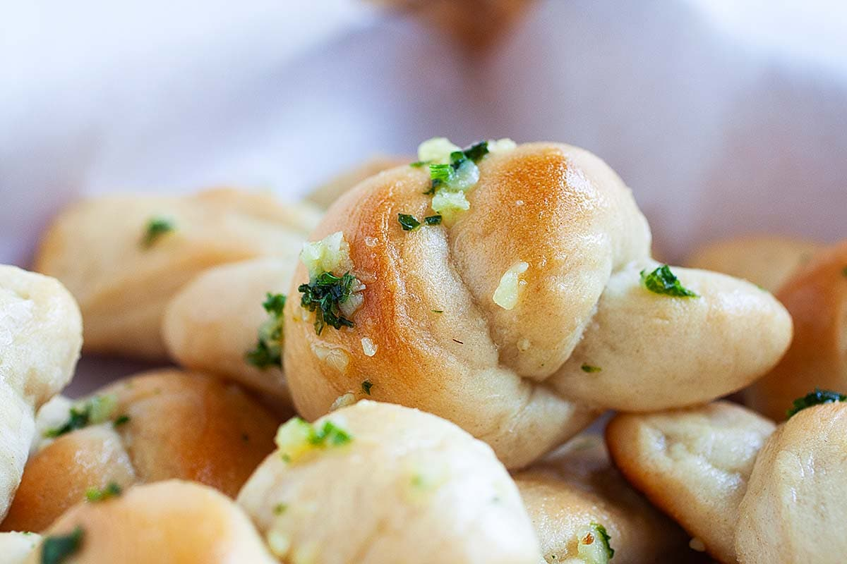 Garlic knot pizza or garlic bread knots, ready to serve.