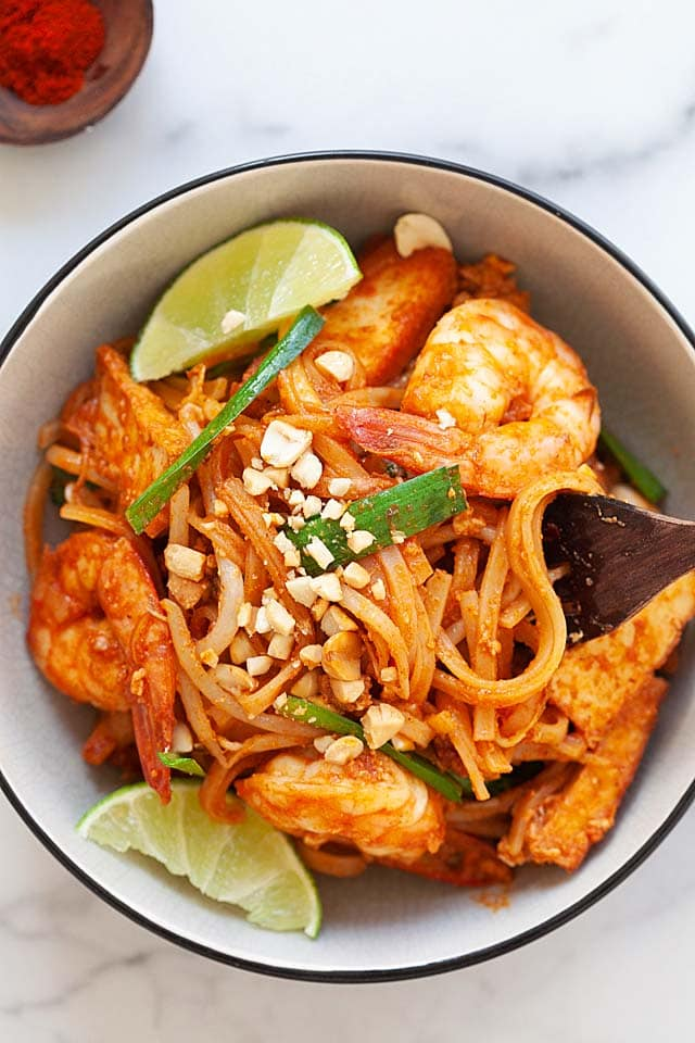 Easy Pad Thai recipe served in a bowl.