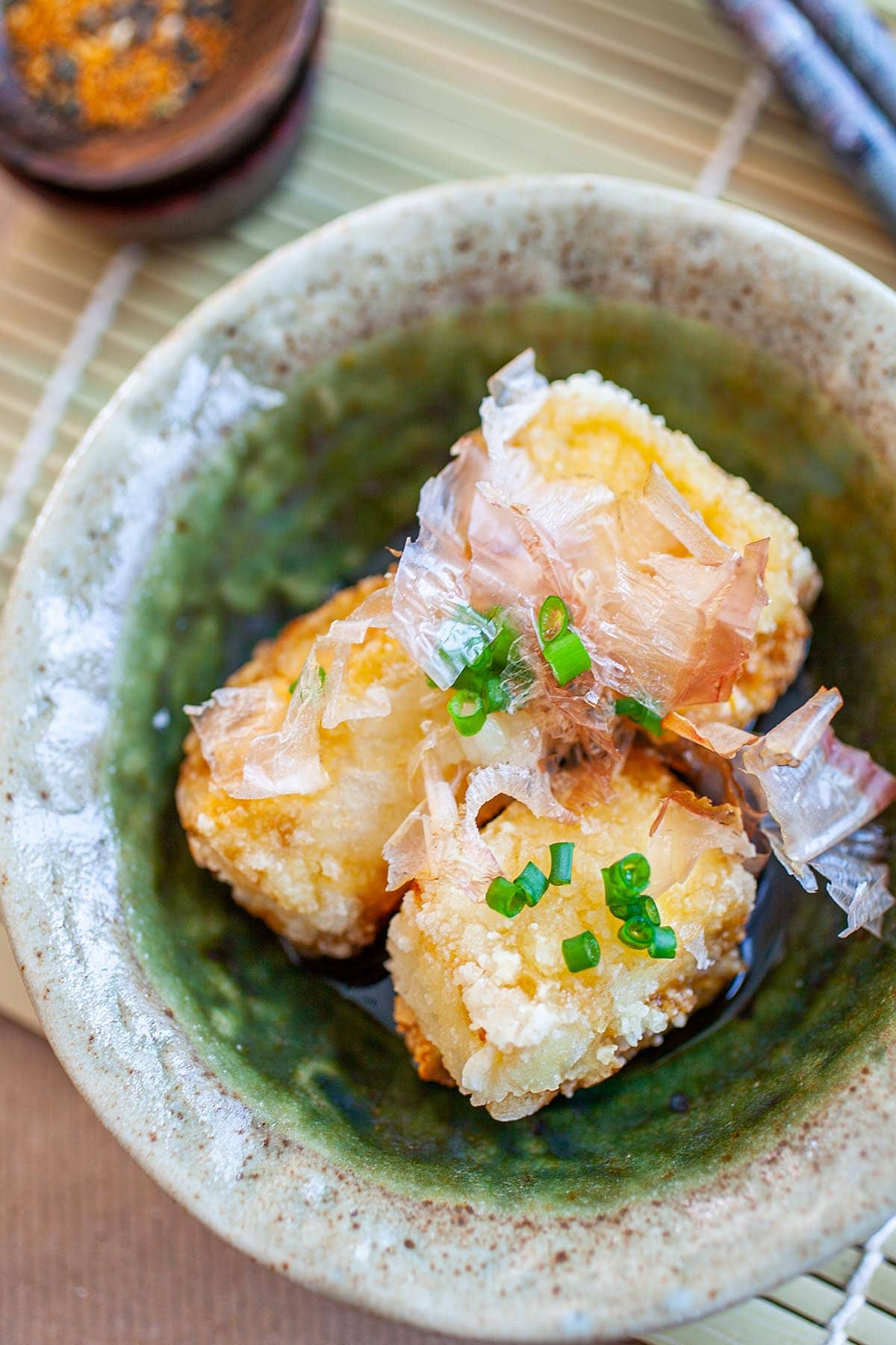 Agedashi tofu in a bowl.