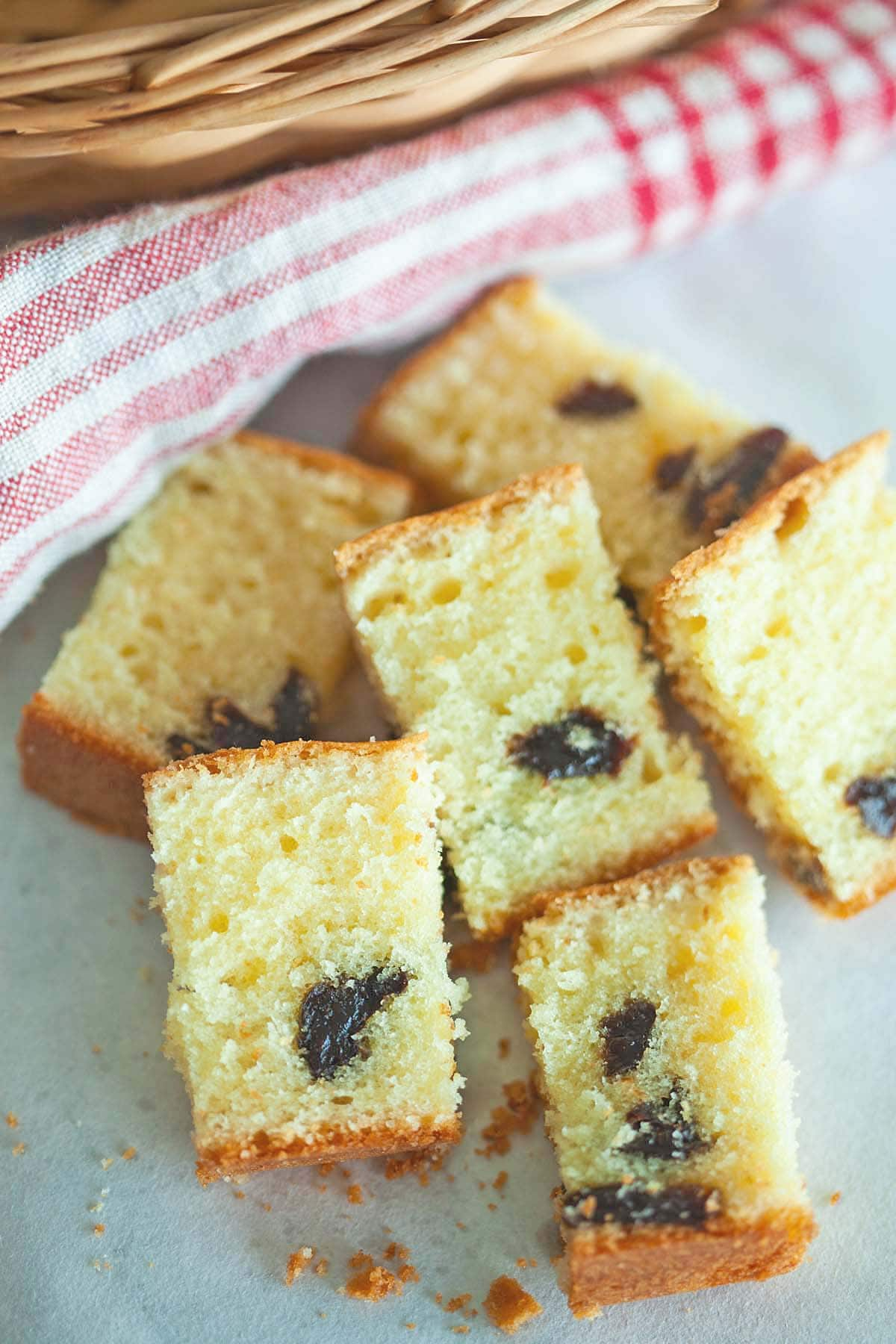 Brandy butter cake with splashes of brandy plus dried prunes.