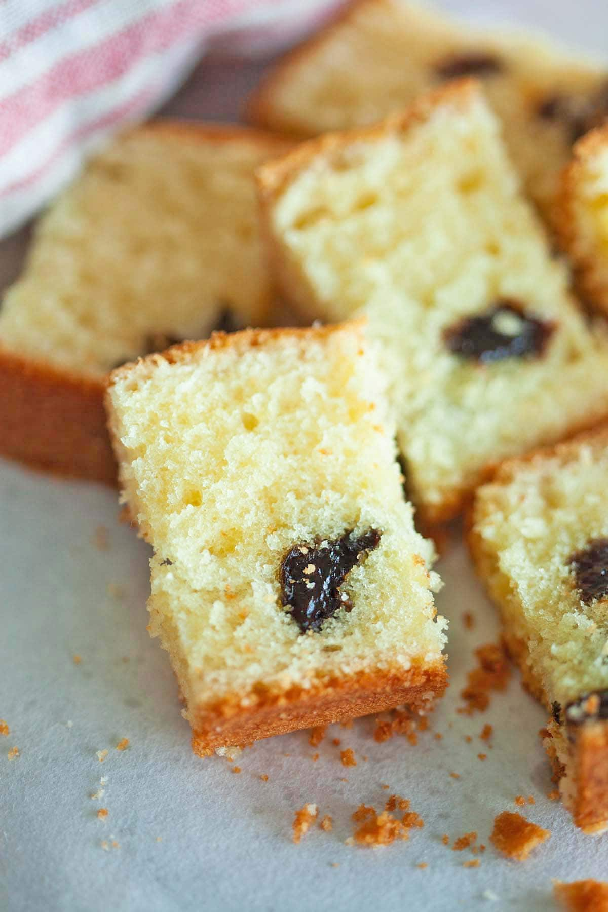 Brandy butter cake with prunes, ready to serve.