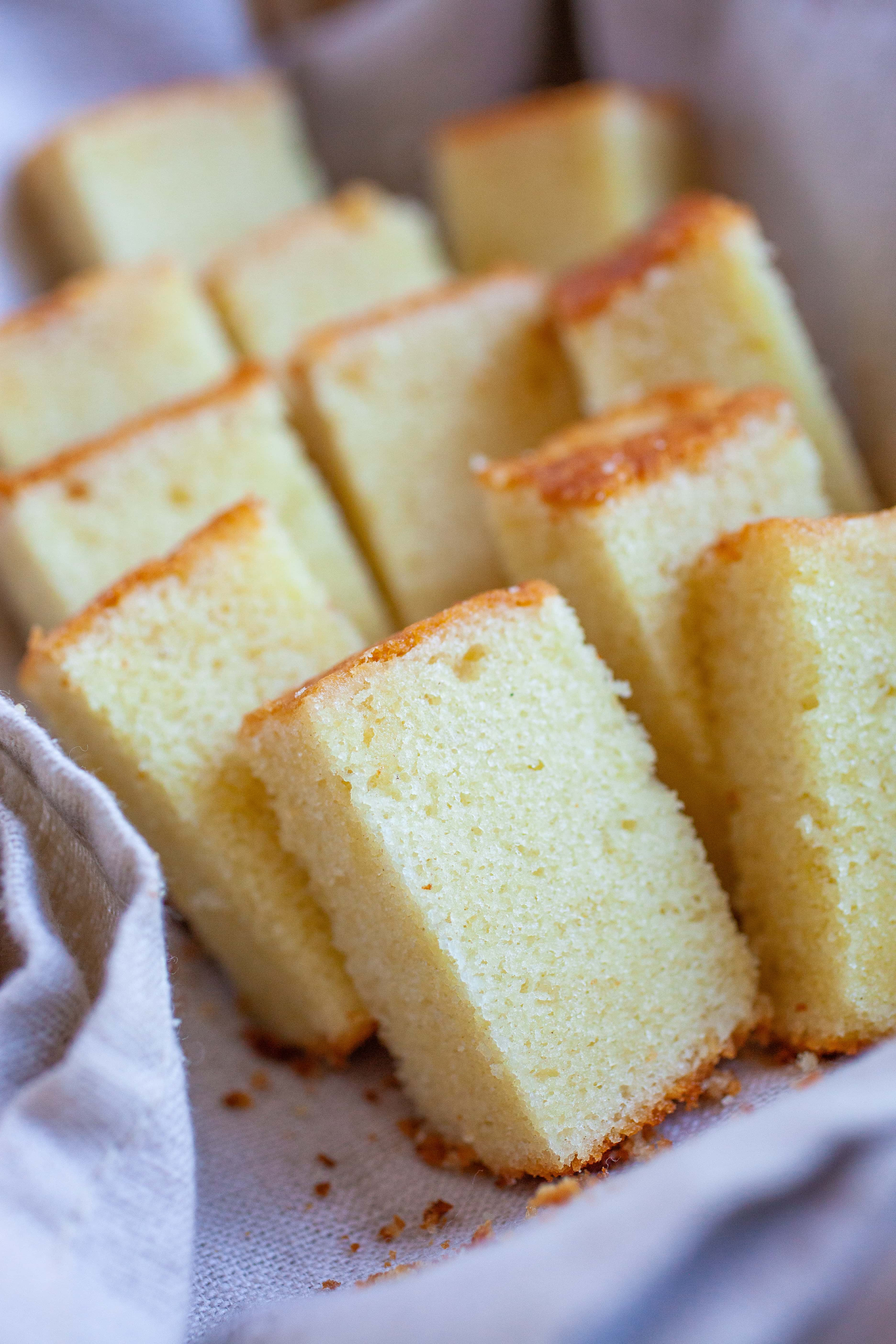 Small pieces of butter cake.