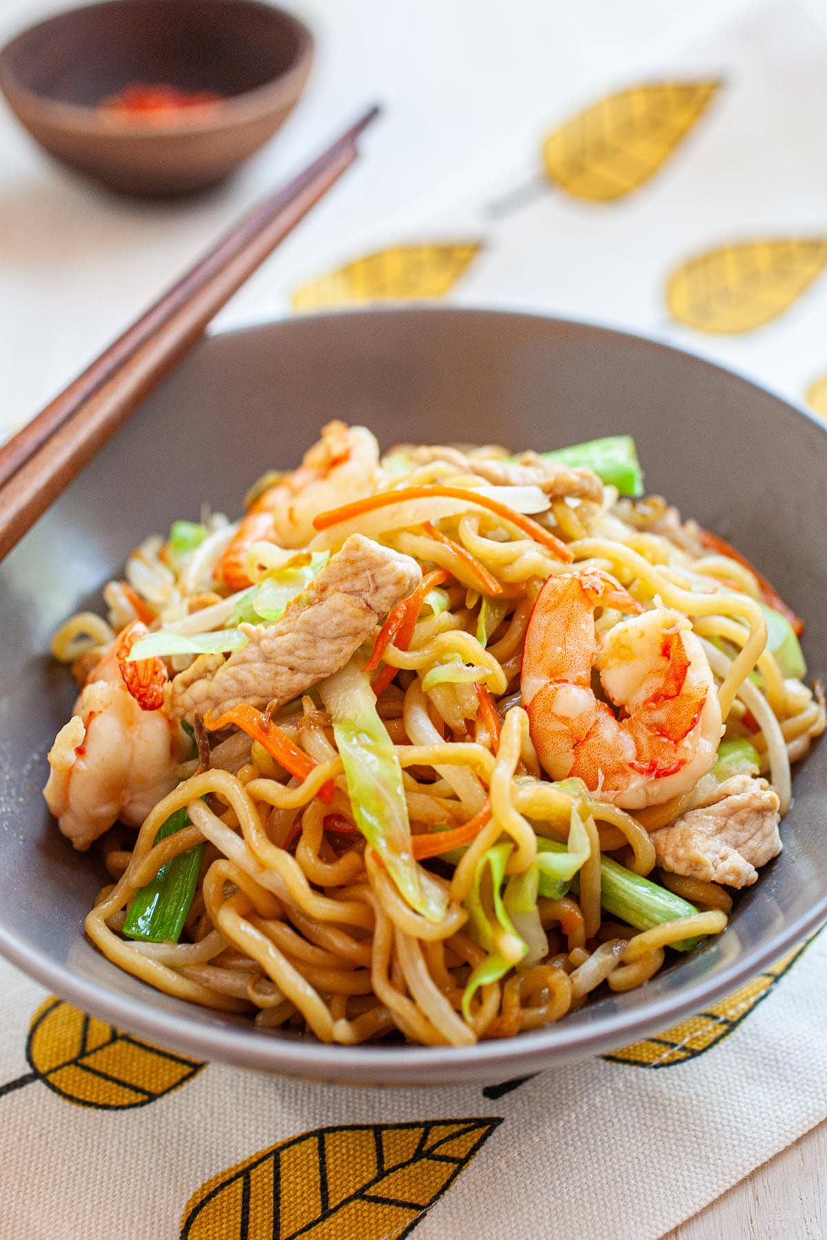 Chow Mein noodles with shrimp, chicken and vegetables.