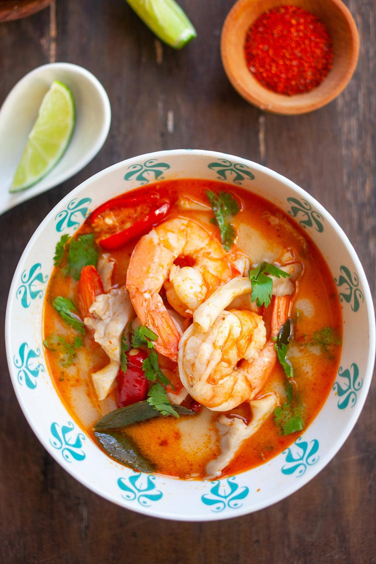 Spicy and Sour Tom Yum in a bowl ready to serve, learn this super easy recipe today.