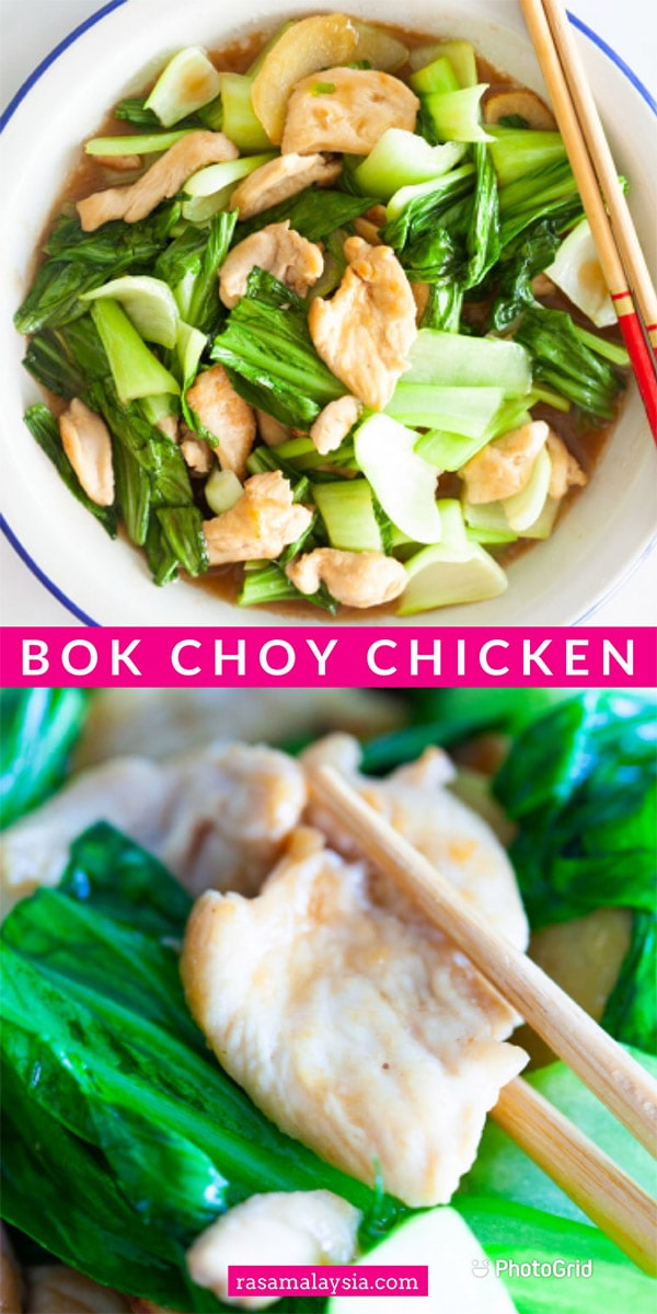 Bok Choy Chicken - easy bok choy stir-fry recipe with chicken, ginger in a light Chinese brown sauce. This unique recipe is so healthy and delicious!