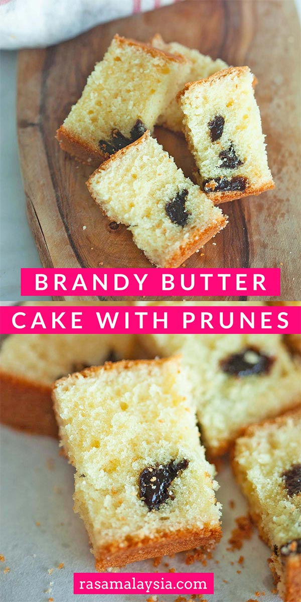 Brandy Butter Cake with Prunes – Rich, moist, sweet, and super buttery butter cake with splashes of brandy plus dried prunes. You just have to make this.