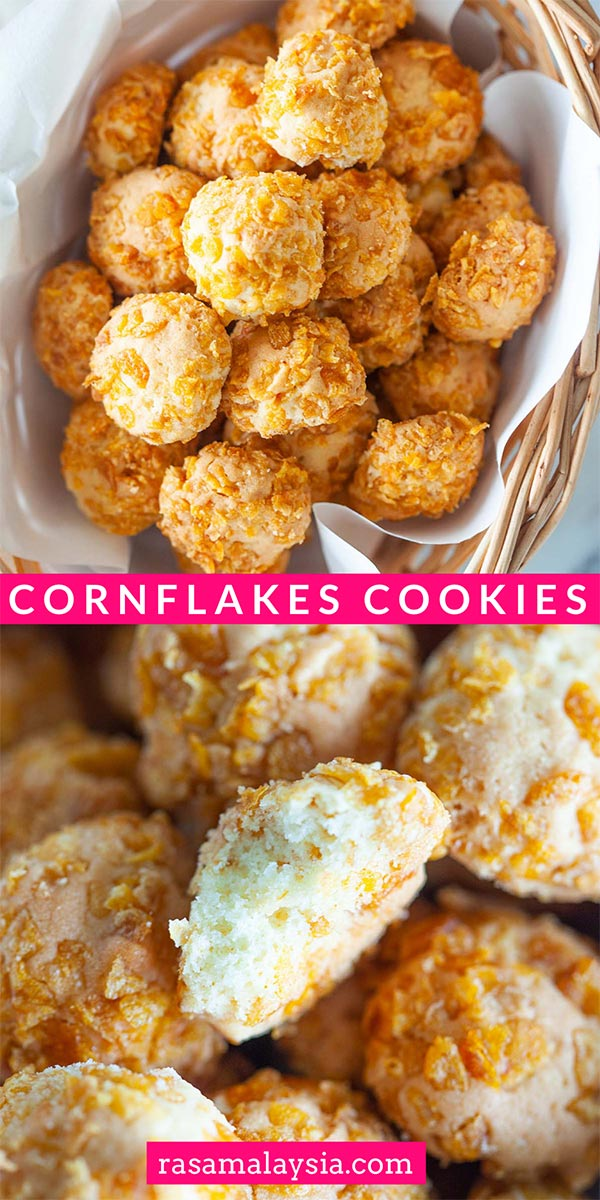 Easy cornflake cookies recipe that yields buttery, crunchy and tasty cornflake cookies. Cornflake cookies are great for Chinese New Year or festive seasons.