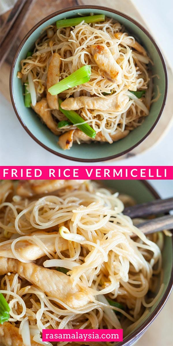 Fried Rice Vermicelli - easy rice noodles recipe stir-fried with chicken, bean sprouts and scallion. Learn how to cook vermicelli at home with this recipe!
