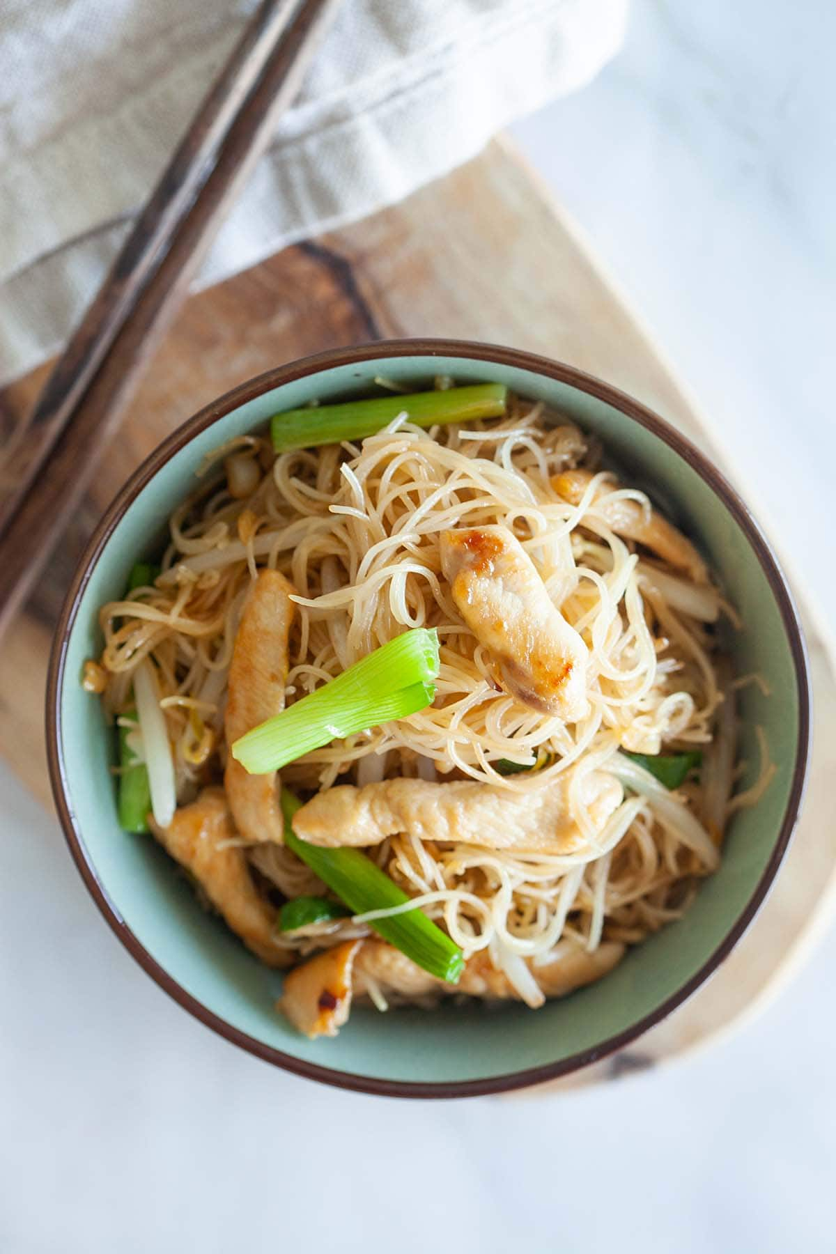 Vermicelli noodles served in a bowl.