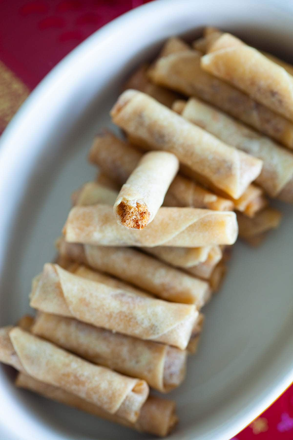 Easy Chinese mini deep fried spring rolls filled with chicken floss.