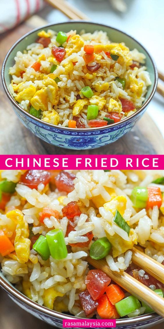 Authentic Chinese fried rice with Chinese sausage, eggs and steamed rice. This restaurant style Chinese fried rice recipe is so easy to make and the best!
