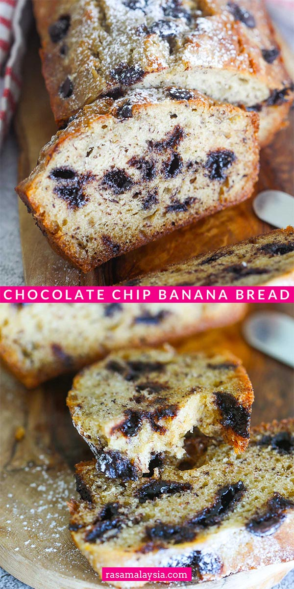 Easy and moist chocolate chip banana bread with simple ingredients. This chocolate chip banana bread recipe is fail-proof and so delicious!