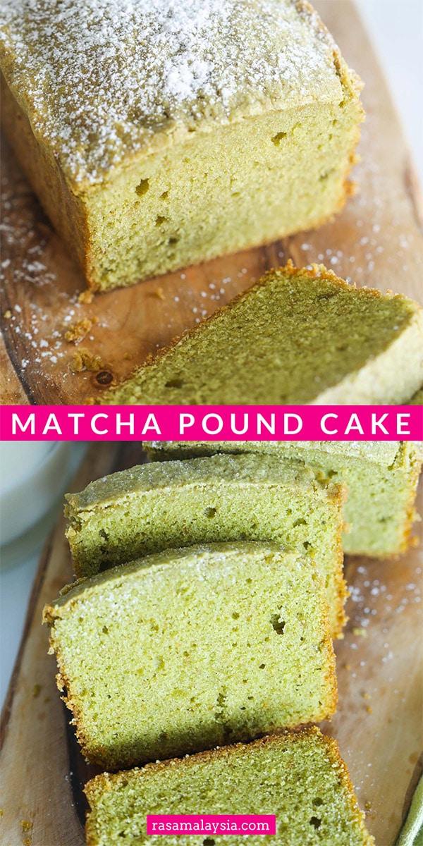 Matcha Green Tea Pound Cake - best homemade pound cake with matcha or green tea powder. Buttery, moist, sweet, and so yummy!