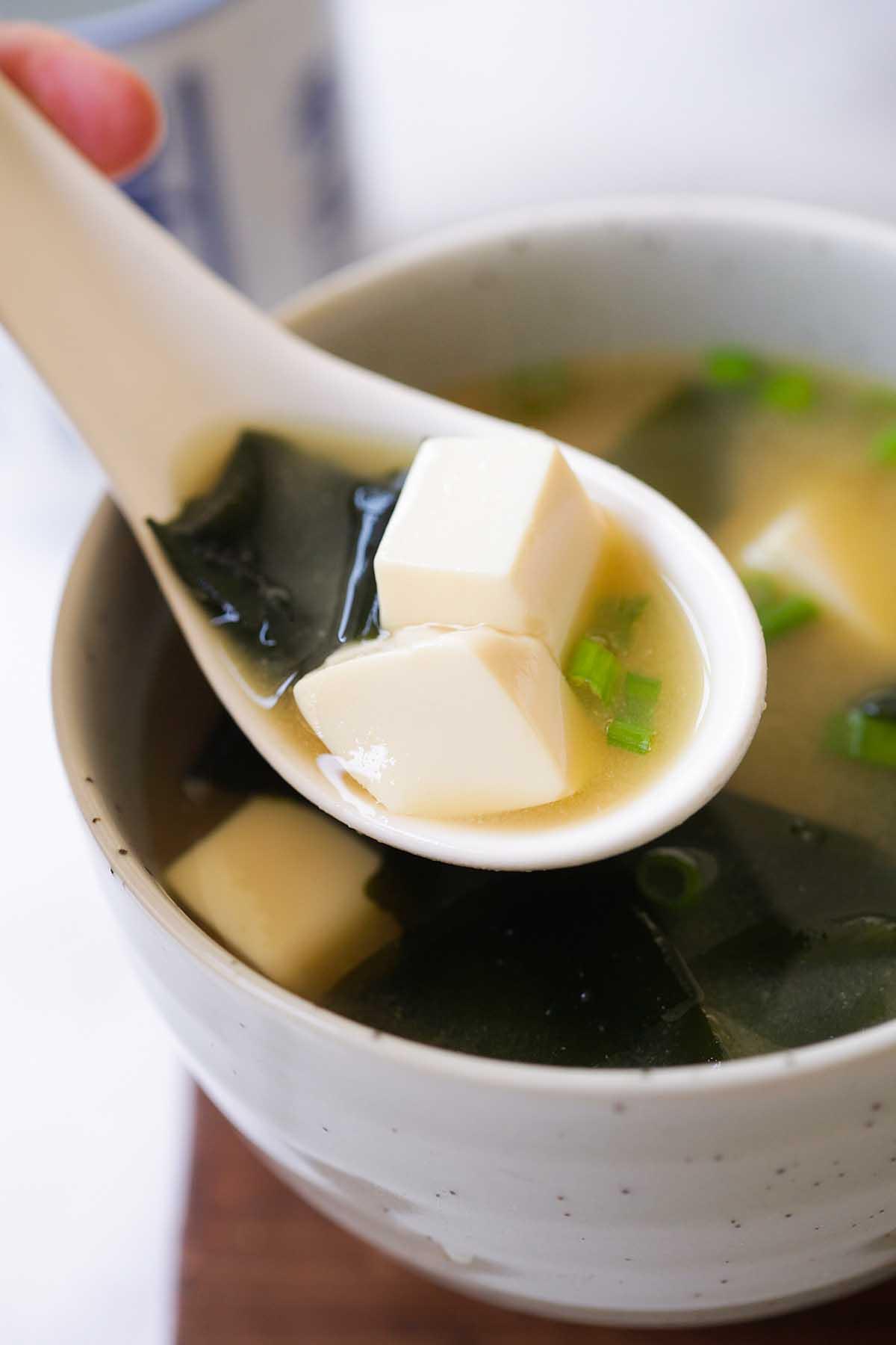 Miso soup, ready to serve.