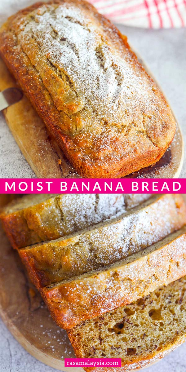 The ultimate and super moist banana bread with rum. This moist banana bread recipe is easy, healthy, made with overripe bananas, sour cream and brown sugar!
