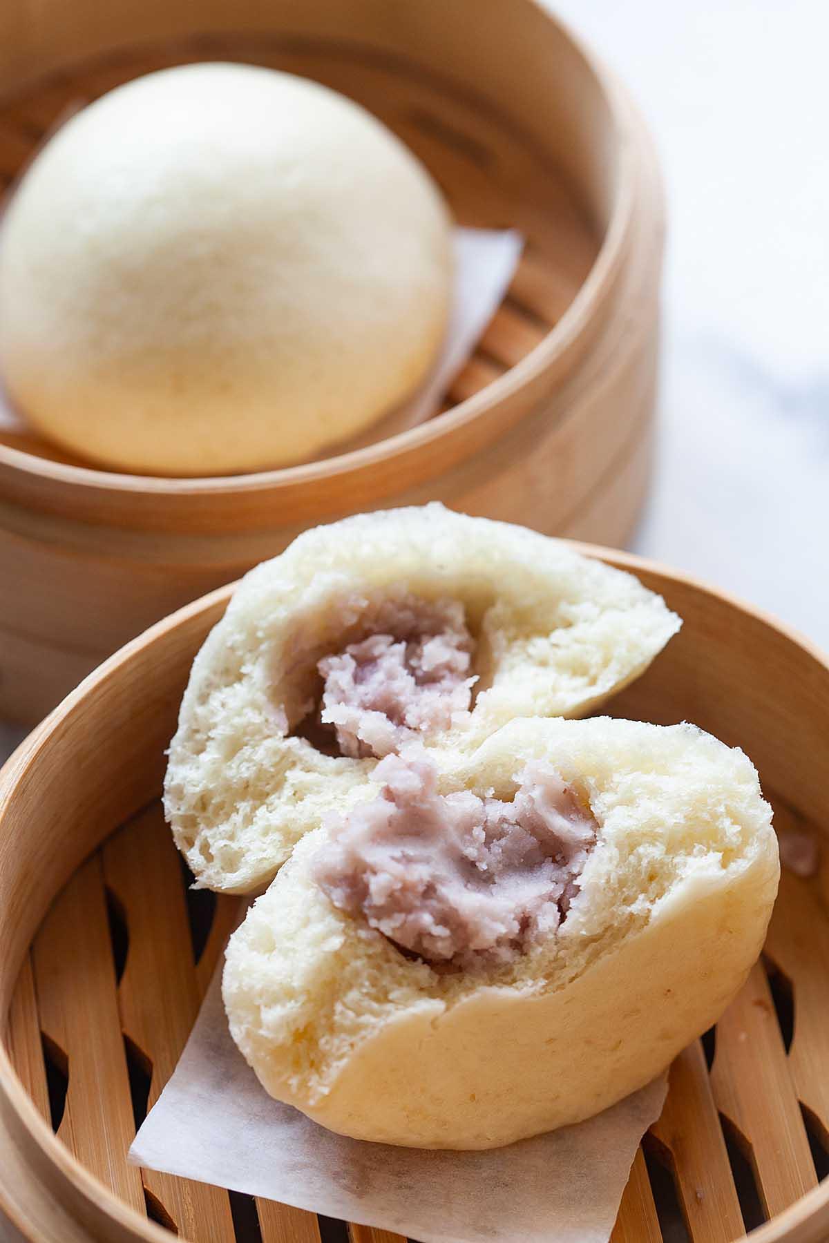 Chinese sweet taro bun with taro paste inside the bun.