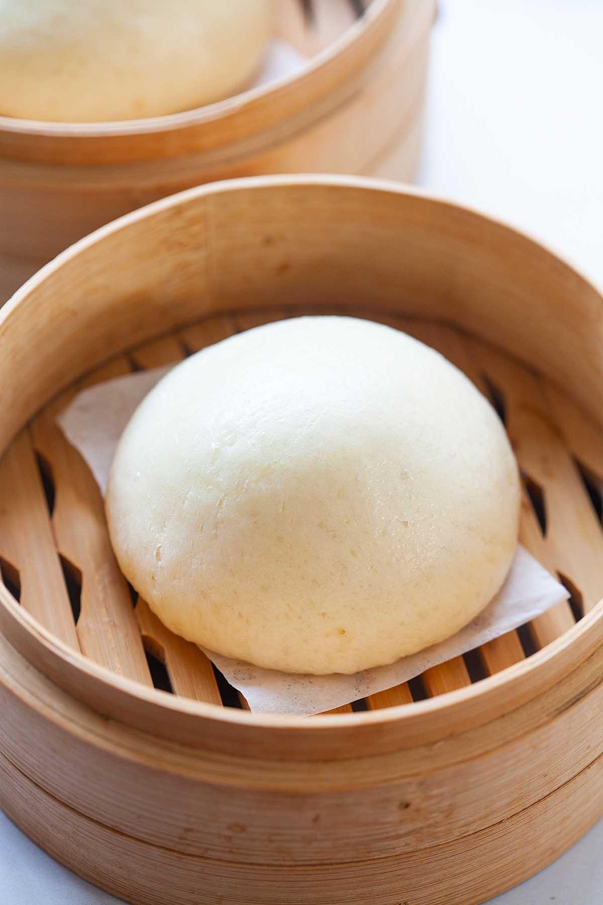 Steamed taro bun, ready to serve.